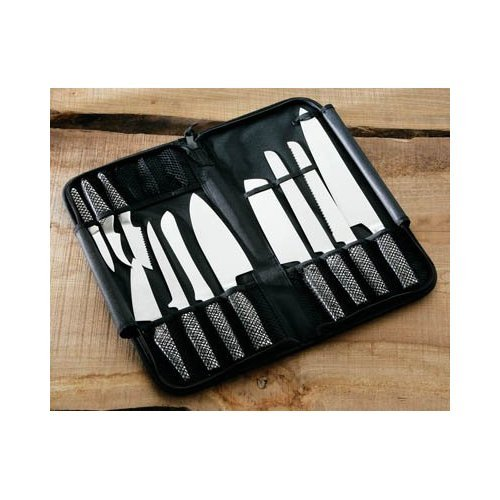 11PC CHEFS KNIFE SET IN FOLDAWAY PVC COATED NYLON SLEEVE