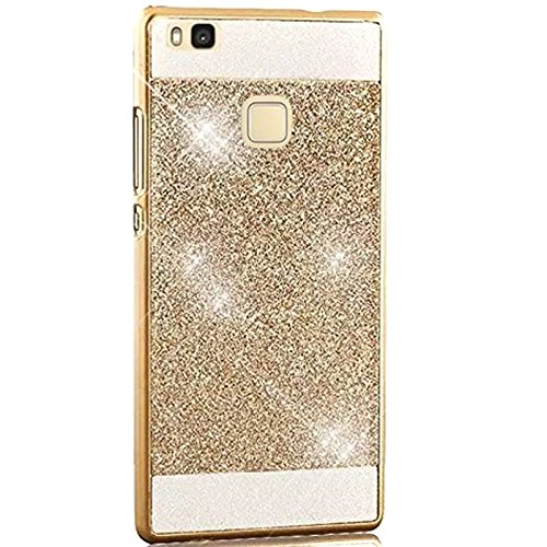 Semoss Luxury Bling Gliter Crystal Diamond Case for Huawei P9 Lite Ultra Slim Thin Hybrid Rhinestone Hard Back Bumper TPU Protective Shining Case Cover - Gold