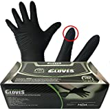 Throttle Muscle TM6495 - Muscle Gloves Industrial Powder Free Black Nitrile Work Gloves 6 Mil Textured Finger and Palm, Box of 100 (X-Large)