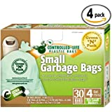 Green N Pack Small Garbage Bags 4 Gallon, 30-Count Box (Pack of 4, 120-Count)