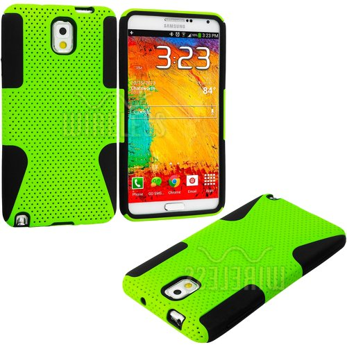 Mylife (Tm) Black + Neon Lime Green Flexi Grip (2 Piece Mesh Armorsuit) Tough Jacket Case For The Samsung Galaxy Note 3 (4G) Smartphone (Fits Models: N9000, N9002 And N9005) (External Mesh Fitted Hardshell Protector + Internal Solft Silicone Flexible Easy front-953423