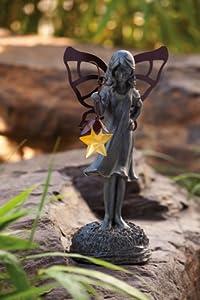 "11.5"" Inspirational Statuary Star Gaze Fairy Solar Power Outdoor Garden Figure"