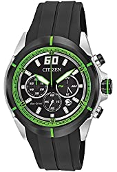 Citizen Men's HTM Eco-Drive Green Accented Black Dial Black Rubber Strap Chronograph Watch  CA4109-01E