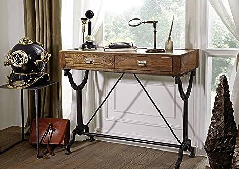 1920s ORIGINAL Schreibtisch mit Glas #114 Teak und Eisen