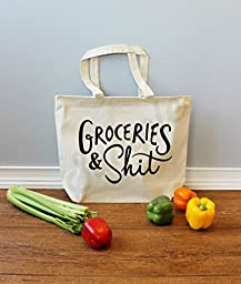 Groceries & Shit Black Xl Tote in Natural Color