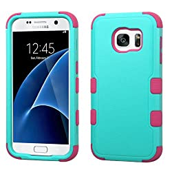 MyBat Cell Phone Case for Samsung Galaxy S7 - Retail Packaging - Green/Pink/Teal