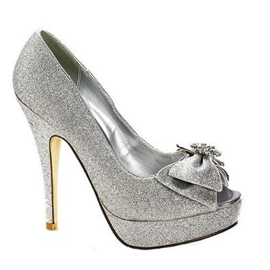 Ladies Silver Sparkle Bow Peep Toe Shoe Wedding Party Evening Shoes Amazoncouk Shoes Amp Bags