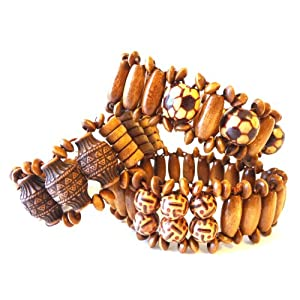 Wooden Bracelets Set of 3 Hip Bracelets Unisex with Soccer Balls