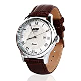 Aposon Mens Unique Roman Numeral Fashion Design Quartz Analog Waterproof Wrist Business Casual Watch with Stainless Steel Case, 98ft 30M 3ATM Water Resistant, Comfortable PU Leather Band - Brown