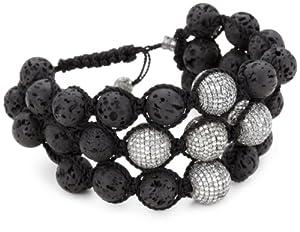Jordan Alexander 3-Strand Lava with 5 Pave Diamond Beads Bracelet