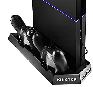 PS4 Controller Charger KingTop PS4 Fan Cooler Vertical Stand Dual Charging Station for Playstation 4 DualShock 4 Controllers [Guaranteed Satisfaction]