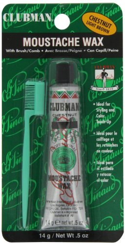 Clubman Pinaud Moustache Wax with Free Brush/Comb Applicator, Chestnut, 0.5 Ounce