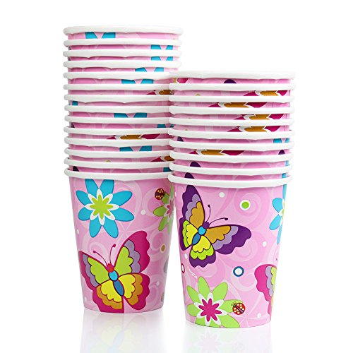 9 Ounce Pink Birthday Butterfly Paper Cup Hot / Cold Party Cup (48 Count)