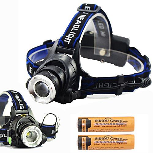 Sidiou Group Lampada 1800lm CREE XM-L T6 10W LED messa a fuoco del faro del faro Lampada da testa della lampada frontale si accampa facendo un'escursione luce con 2 x 3.7V 3000mAh 18650 batteria ricaricabile e caricabatteria