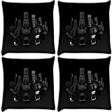 Snoogg Desktop Background Range Pack Of 4 Digitally Printed Cushion Cover Pillows 16 X 16 Inch