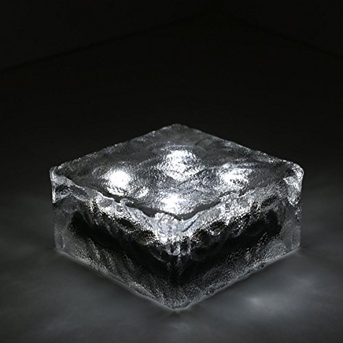 1 Solar Clear Glass Brick Paver Light With 4 Leds Cool