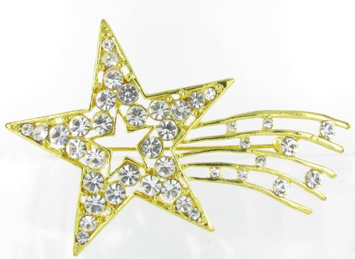 Sparkling Shooting Star Rhinestone Brooch Pin For Independence Day - Clear Crystals With Gold Coating