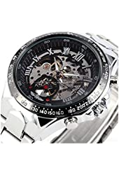 Russian Skeleton Automatic Watches For Men Silver Stainless Steel Wrist Watch