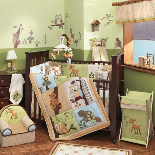Lambs &amp; Ivy Enchanted Forest 6 Pc Baby Crib Bedding Set, Green