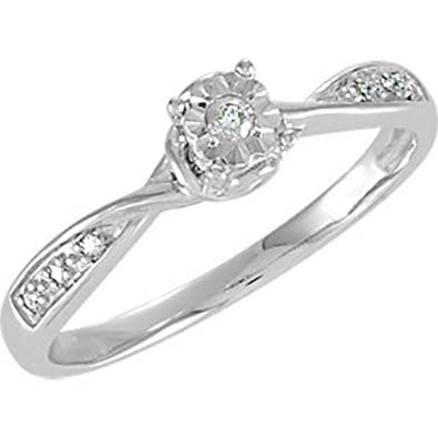 Icecarats Designer Jewellery Sterling Silver .07Ctw Diamond Illusion Engagement Ring Size 7