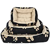 Indian Handicrafts Sponge Rectangular Pet Bed, Small/Medium/Large, Brown/Camel, Set Of 3