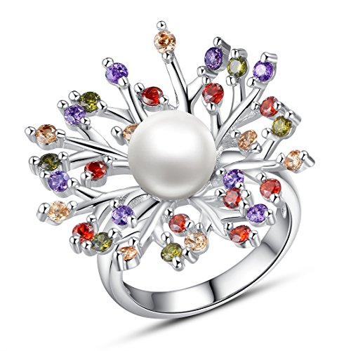 Bamoer (Buy Ring Send Earring) Gold Plated Lover Finger Ring Cubic Zircon Cz Wedding Rings (Yir027 Size8)