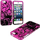 myLife (TM) Abstract Magenta Vines and Butterflies Series (2 Piece Snap On) Hardshell Plates Case for the iPhone... by myLife Brand Products