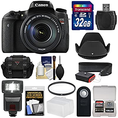Canon EOS Rebel T6s Wi-Fi Digital SLR Camera & EF-S 18-135mm IS STM Lens with 32GB Card + Case + Strap + Filter + Flash + Remote + Kit