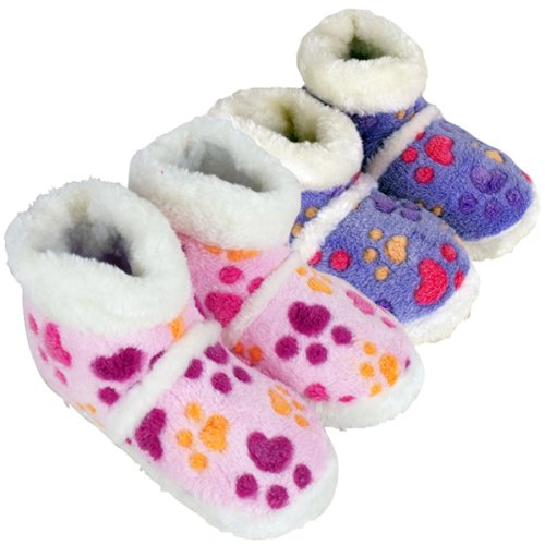 New Girls Furry Eskimo Ankle Boot Slipper Childrens Kids Slippers Size UK 9-3