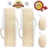 Exfoliating Loofah Back Scrubber & Pad 4 Pack + Bonus Drying Hooks All Natural Luffa For Men & Women