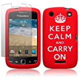 BLACKBERRY CURVE 9380 RED/WHITE KEEP CALM & CARRY ON LASERED SILICONE SKIN CASE / COVER / SHELL + SCREEN PROTECTOR PART OF THE QUBITS ACCESSORIES RANGEby Qubits