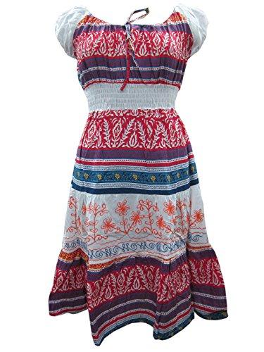 Vintage Dress Bohemain Dresses Long Cotton White Red Maxi Dress