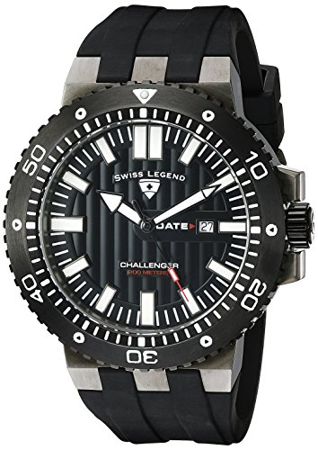 SWISS LEGEND Challenger 10126-GM-01-BB 50 Stainless Steel Case Rubber Anti-Reflective Sapphire Men's Quartz Watch