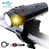 Bike Light Set,3rd-generation USB Rechargeable LED Headlight Bicycle Lights Front(Smart,Anti-glare,8h Working,Super Bright,Safer),Free Rear Tail Light and Alloy Bike Bell, Fits for Mountain Road Cycle (Color: Black)