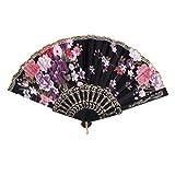 Spanish Floral Oriental Dance Party Wedding Folding Hand Fan Lace - Black