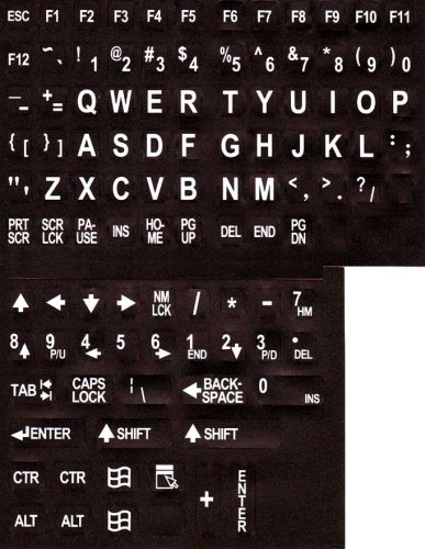 Large Print English Keyboard Stickers Labels Overlays (Lexan® polycarbonate, 3M® adhesive) for the Visually Impaired (Non Transparent - Black with White Letters)