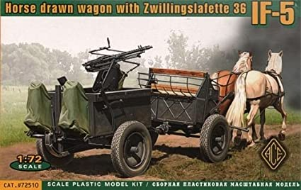 Ace 72510 Horse Drawn Wagon with Zwillingslafette 36 IF-5 1:72 Plastic Kit Maquette