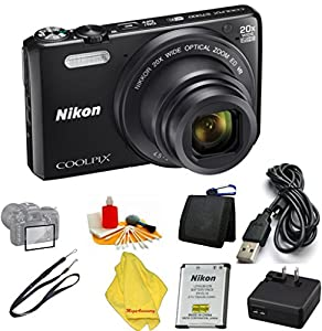 Nikon Coolpix S7000 16 MP Digital Camera with 20x Optical Image Stabilized Zoom 3-Inch LCD (Black) + 6pc Starter Set