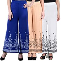 NumBrave Royalblue, Beige & White Printed Viscose Palazzos (Pack of 3)