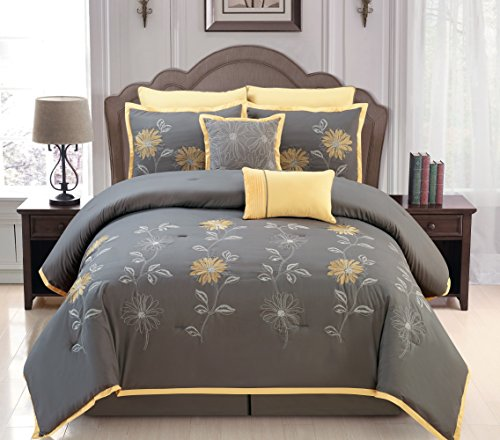Sunshine Yellow / Grey Comforter Set Embroidery Bed In A Bag Queen Size Bedding