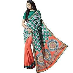 Vasu Saree For Women Orange & Sea Green Bangalore Silk Classic Printed Designer Casual Saree