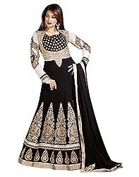Shoppingover Unstiched Black Anarkali Dress