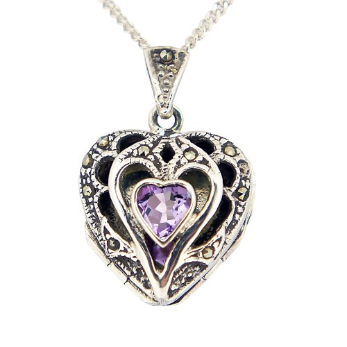 Sterling Silver & Cubic Zirconia Set Heart Locket with Heart Shaped Amethyst Colour CZ, 46cm Chain