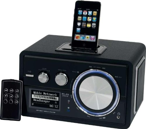 luxus w lan internet radio mit ipod docking station mit radiowecker 15 watt lautsprecher. Black Bedroom Furniture Sets. Home Design Ideas