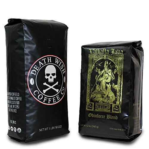 Death Wish Coffee & Valhalla Java Bundle, Fair Trade and USDA Certified Organic, Ground Coffee Beans