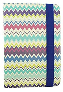 Emartbuy® Universal Range Multi ZigZag Multi Angle Executive Folio Wallet Case Cover For Iball 3G 17 7 Inch Tablet