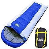 丸洗いOK White Seek 寝袋 シュラフ 封筒型 耐寒温度 -15℃ コンパクト収納 オールシーズン (ブルー)