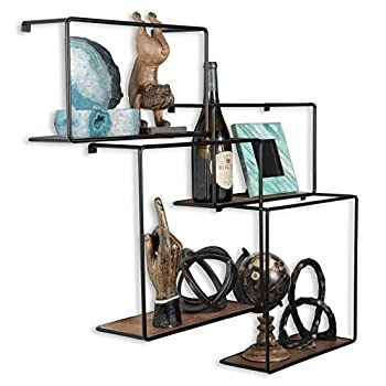 Wall Mounted Rustic Iron and Wood Intersecting Unique Floating Shelves Wood (4, Black)