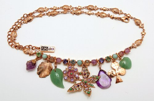 'Spring Vibration' Collection 24K Rose Gold Plated Fascinating Chain Created by Amaro Jewelry Studio Designed with Rainbow Fluorite, Labradorite, Amethyst, Amazonite and Swarovski Crystals