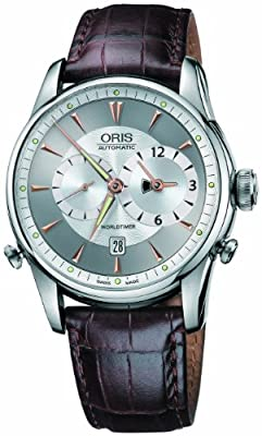 Oris Men's 690 7581 4051LS Artelier Worldtimer Silver Dial Watch
